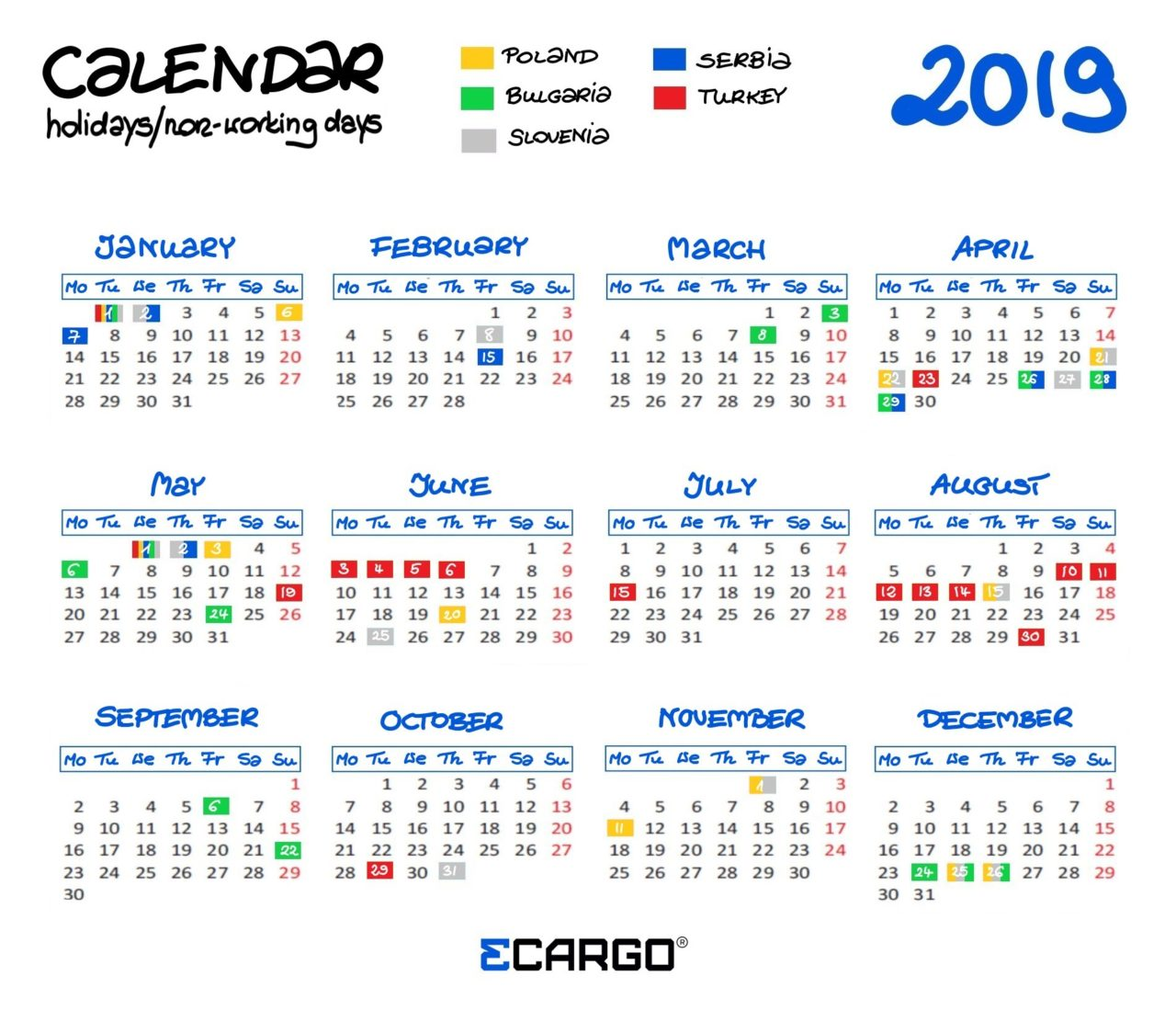 Working Days Calendar 2019 The calendar of holidays and non working days in 2019   3CARGO